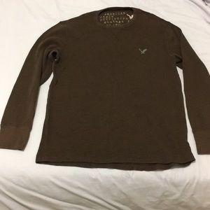 American Eagle Long sleeve waffle shirt